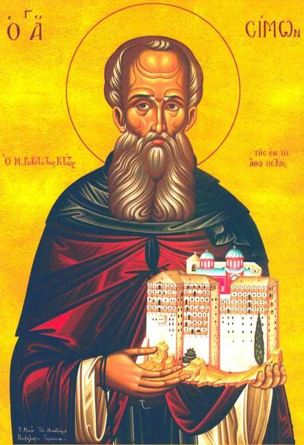 ST. SIMON, The Myrrh-streamer, Founder of Simonopetra Monastery, Athos
